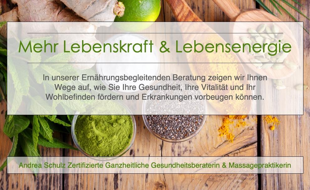 Ernährungsberatung in Ernährungsbegleitender Form, Massagen nach DORN, Breuß, Ayurveda. Eine ganzheitliche Gesundheitsvorsorge und Beratung.